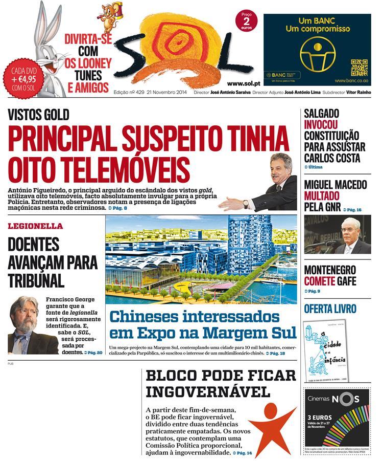 Primeira página do SOL