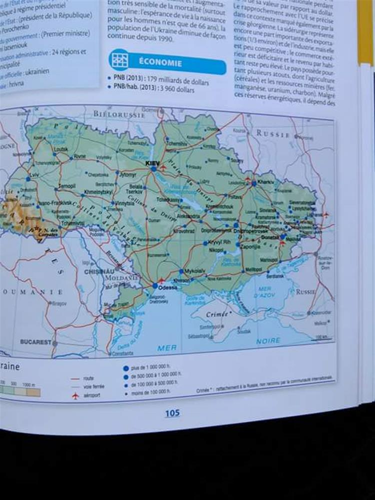Atlas da Larousse inclui Ucrânia na Rússia
