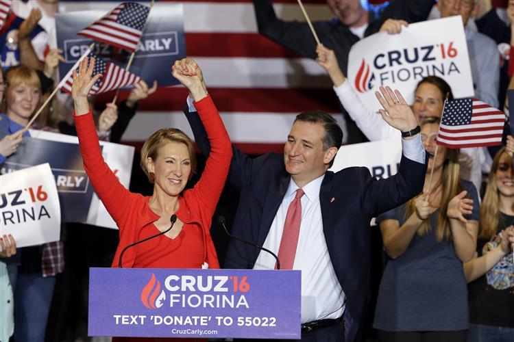 Ted Cruz escolhe Carly Fiorina para ser sua vice